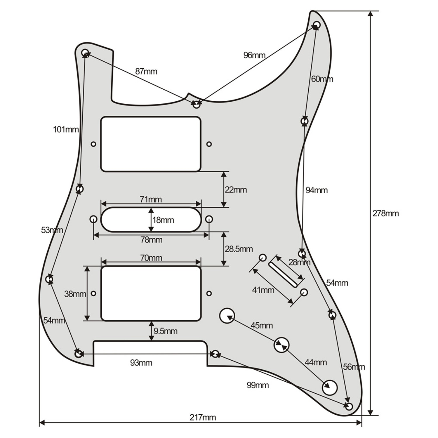 stratocaster hsh humbucker pickguard scratchplate guitar anatomy. Black Bedroom Furniture Sets. Home Design Ideas
