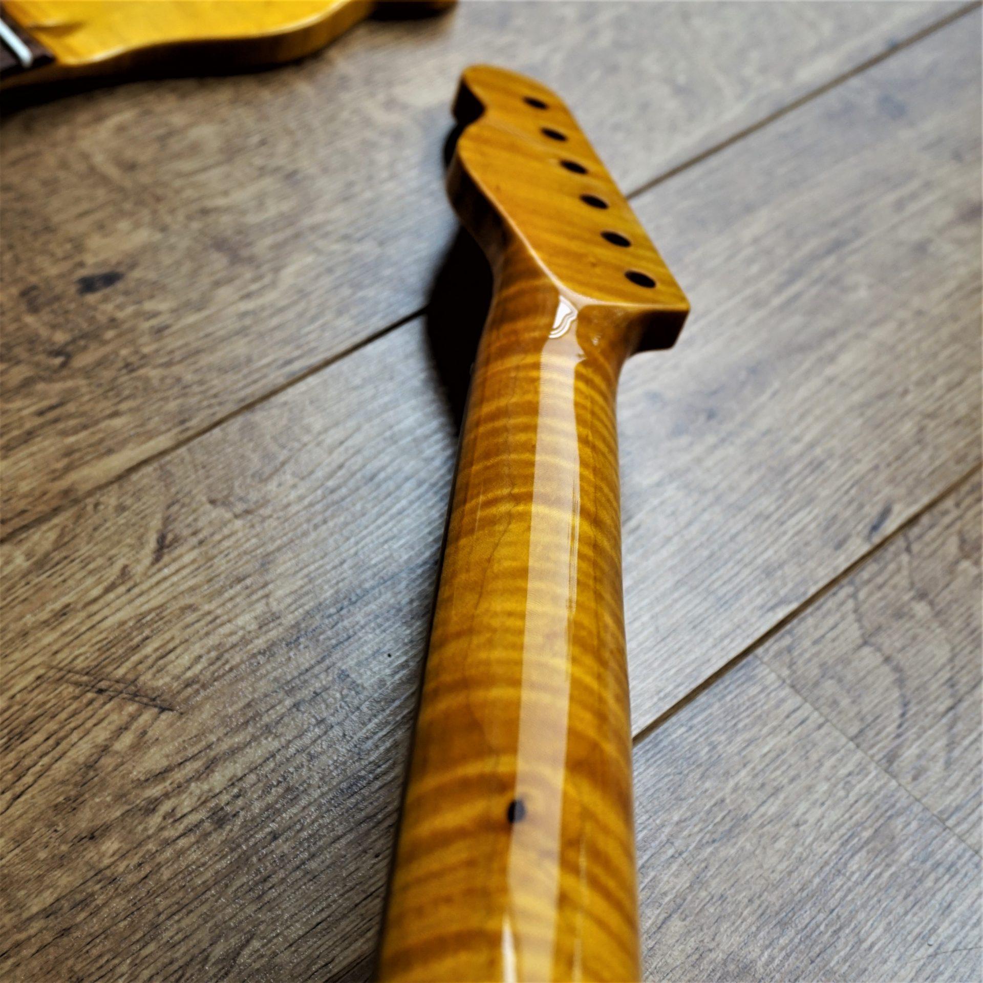Telecaster Kabukalli and Flame Maple Guitar Neck Abalone | Guitar ...